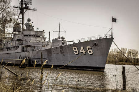 destroyer: Bay City, Mi. USA. April 23, 2015. The USS Edson naval destroyer docked in Bay City. The destroyer served in Vietnam and was decommissioned in  1988.