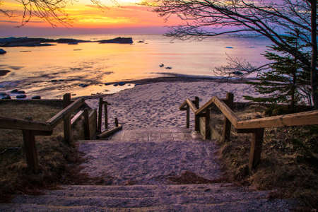 The Way To The Beach. Stairs leading to a beautiful Lake Superior sunset beach at the Hurricane River Campground in Pictured Rocks National Lakeshore.