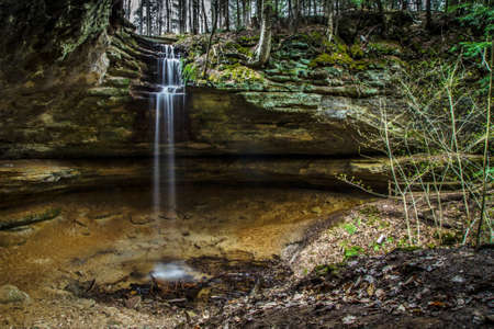 alger: Waterfall Paradise. The Memorial Falls located in Munising Michigan. Munising is the gateway to Pictured Rocks and is home to many waterfalls. Stock Photo