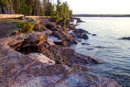 marquette: Presque Isle Park. The rugged Lake Superior shoreline in Presque Isle Park in Marquette Michigan.