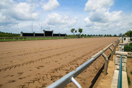 breeders: Lexington Kentucky. USA. June 1 2015. Keeneland racetrack in Lexington Kentucky prepares to host the 2015 Breeders Cup. Keeneland is considered to be the premier horse racing facility in the US.