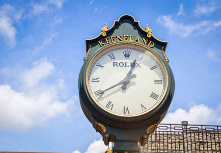 breeders: Lexington Kentucky. USA. June 1 2015. The famous Rolex clock custom made for Keeneland Racetrack. Keeneland is a premier racing facility and host of the 2015 Breeders Cup.