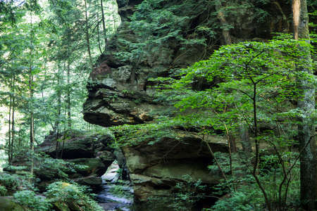 geological formation: The Spinx. Geological formation known as the Sphinx on a hiking trail in Hocking Hills State Park. Logan, Ohio Stock Photo