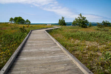 superior: Coastal Boardwalk Beach. Boardwalk winds through a coastal ecosystem to Lake Superior.