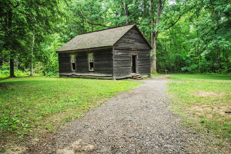 schoolhouse: Little Greenbrier Schoolhouse. The Little Greenbrier Schoolhouse opened in 1882 and is now part of the Great Smoky Mountains National Park. Gatlinburg, Tennessee. Stock Photo