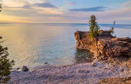 The rugged wild beauty of Presque Isle Park on the shores of Lake Superior in Marquette, Michigan.