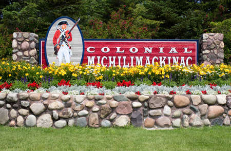 Mackinaw City, Michigan, USA - July 20, 2014. The entrance to Fort Michilimilimackinac  established in 1715 by the French. The fort was taken over by the British during Pontiacs uprising in 1763 and is popular destination for tourists. Sajtókép