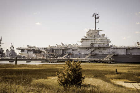 aircraft carrier: Mount Pleasant, South Carolina, USA - February 8, 2015. The Essex aircraft carrier USS Yorktown on display at Patriots Point in South Carolina.