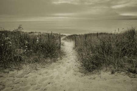 Path To The Beach. Path winds through dune grass to a foggy Lake Huron. Stock Photo