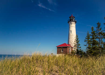 luce: Crisp Point Lighthouse. Crisp Point Lighthouse is located in Michigans Upper Peninsula on the shores of Lake Superior. The light was built in 1875 and is currently owned by Luce County and maintained by volunteers.