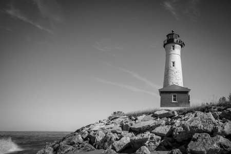 guiding light: Crisp Point Lighthouse. The Crisp Point Lighthouse is located in Michigans Upper Peninsula on the shores of Lake Superior. The light was built in 1875, owned by Luce County and maintained by volunteers.