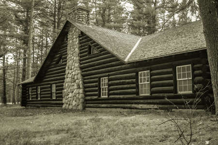 state owned: Historical Log Cabin Lodge. Cabin built by the CCC during the depression. The cabin was built by the federal government on public owned land and is not privately owned. Hartwick Pines State Park.