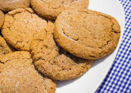 gingham: Molasses Cookies. Plate of molasses cookies sprinkled with sugar on a blue and white gingham background. Stock Photo