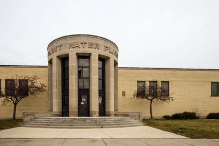 flint: Flint Michigan Water Plant. Flint, Michigan, USA - February 2, 2016. The exterior of the Flint Water Plant in Michigan. Flint is in the spotlight as concerns over its water quality and lead content have made national headlines.