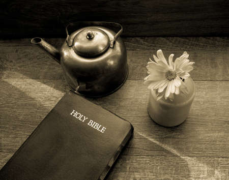 bible flower: Morning Light Shines Across The King James Bible. Morning light illuminates a bible with a copper teapot and fresh flower. Shot from above with with a desaturated vintage filter applied.