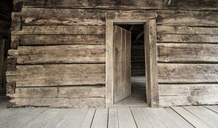 Front Door And Porch Of A Historical Log Cabin Pt Sanilac ...