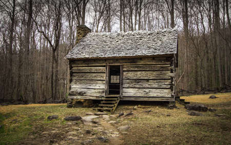 settler: Pioneer Cabin In The Smoky Mountains National Park.Historical pioneer cabin in the Cades Cove scenic area of the Great Smoky Mountains National Park in Gatlinburg, Tennessee. This is public historical display on federal  park lands and is not a private re
