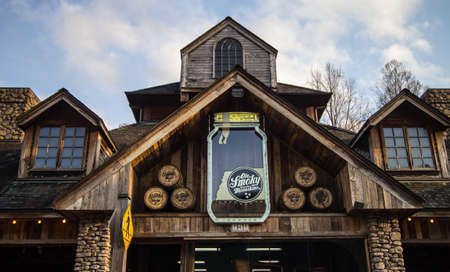 famous industries: Ole Smoky Distillery. Gatlinburg, Tennessee, USA. March 25, 2016 - The Ole Smoky Distillery bills itself as the most visited distillery in America. Known as the Holler, the distillery offers tours and sells Tennessee moonshine.