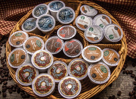 Keurig K Cups. Port Huron, Michigan, USA - February 18, 2016 - A variety of the popular Keurig K Cups. Keurig sells a single cup brewer system that offers products by Starbucks, Folgers, Green Mountain and others.
