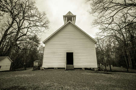 Smoky Mountain Church. Historical Cades Cove Primitive Baptist Church in the Great Smoky Mountains National Park. This is a public building in a national park and not private property