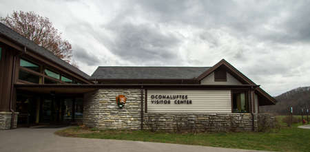 great smoky mountains: Oconaluftee Visitors Center. Cherokee, North Carolina, USA. March 26, 2016 - The Oconaluftee Visitors Center in the Great Smoky Mountains National Park. The Smokies are Americas most visited national park. Editorial