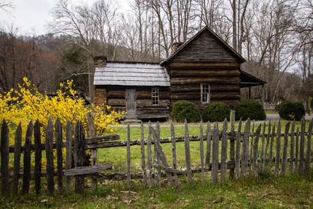 smoky mountains: Smoky Mountain Cabin In The Spring. Historical cabin the Smoky Mountains with spring forsythia in the foreground. This is a public structure in national park and not a privately owned residence. Stock Photo
