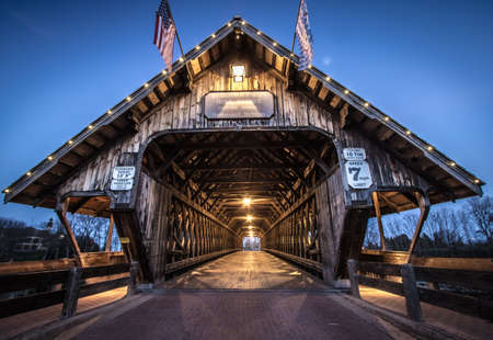 local landmark: Frankenmuth Michigan Covered Bridge. Covered bridge in the town of Frankemuth, Michigan. The local landmark spans the Cass River in the tourist town of Frankenmuth.