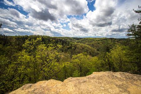 natural bridge: Kentucky Mountain Panorama.  Panoramic overlook view of the Appalachian Mountains in southeastern Kentucky. Natural Bridge State Resort Park. Stock Photo