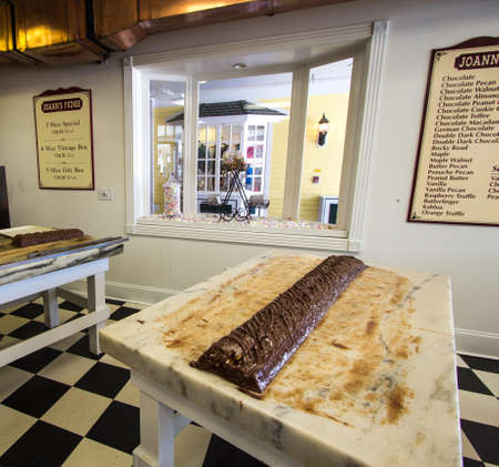 mackinac: Mackinac Island, Michigan, USA - May 6, 2016:  Joanns Fudge Shop opened on Mackinaw Island in 1969. The island is world famous for its fudge shops and tourists are often referred to as fudgies. Editorial
