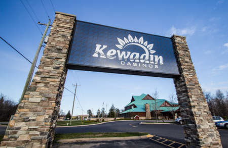 upper peninsula: Christmas, Michigan, USA - May 7, 2016: Kewadin casino located in Christmas, Michigan. The casino is operated by the Sault Tribe Of Chippewa Indians with five locations in the Upper Peninsula. Editorial