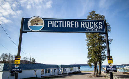 pictured: Munising, Michigan, USA - May 7, 2016: Pictured Rocks Cruises has offered visitors close up views of the famous Pictured Rocks on Lake Superior for over 50 years.
