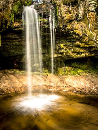 upper peninsula: Michigan Upper Peninsula Waterfall.  Scott Falls is a seasonal waterfall located on the outskirts of Christmas, Michigan.
