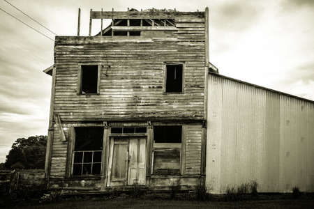 upper peninsula: The Death Of Small Town America. Fayette, Michigan, USA - June 13, 2016: Abandoned building front in the Garden area of Michigans Upper Peninsula. Editorial