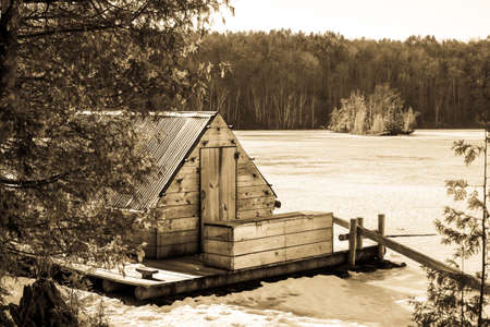 michigan snow: Historic Logging Raft. Historic loggers raft on display along the Highbanks Trail  in Michigans Huron National Forest.