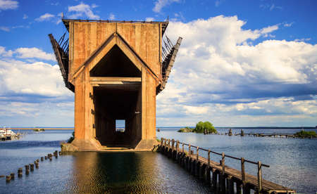 marquette: Marquette Iron Ore Docks. Abandoned Iron Ore dock on the shores of Lake Superior in Marquette, Michigan. Stock Photo