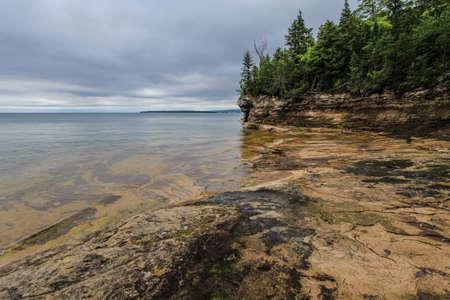 Wild Lake Superior Coast. Remote rocky coast of Lake Superior in Michigans Upper Peninsula wilderness.