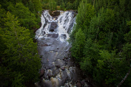 eagle falls: Eagle River Waterfall In Michigan. Eagle River Falls is one of the largest waterfalls in the Keweenaw and is view able from the road. The falls are located in the town of Eagle River in Michigans Upper Peninsula.