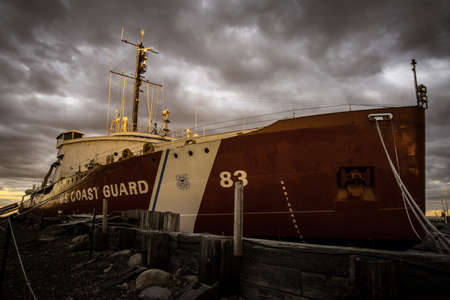 USCGC Icebreaker Mackinaw. The US Coast Guard Ship Mackinaw served as an icebreaker in the Great Lakes region. It now serves as a museum and is dry docked Mackinaw City, Michigan.