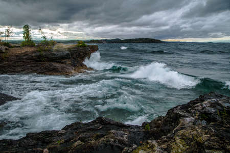 marquette: Gale On The Inland Sea. Waves crash on the Lake Superior coast as gale warnings are in effect. Presque Isle Park. Marquette, Michigan.