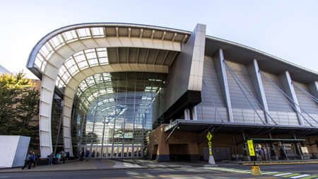Grand Rapids, Michigan, USA - September 17, 2016: The front entrance and facade of the Devos Place Convention Center. The center hosts art exhibits, concerts, dance and seminars throughout the year.