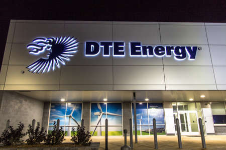 Bad Axe, Michigan, USA - September 27, 2016: Front entrance of  DTE Energy in Michigan. DTE is a strong proponent of renewable energy with a multitude of wind farms throughout southeast Michigan and serves over 2.1 million customers.