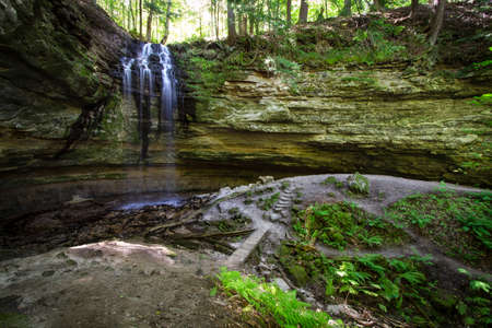 alger: Enchanted Waterfall Forest. Tannery Falls in Michigans Upper Peninsula. Munising, Michigan. Stock Photo