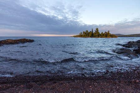 uninhabited: Uninhabited Island In Lake Superior. Small remote island off the rocky coast of Lake Superior in Copper Harbor, Michigan. Stock Photo