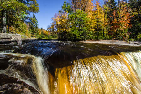 marquette: Michigan Autumn Waterfall. Waterfall in the Canyon Falls Scenic on M 28 between Marquette and Baraga. Stock Photo