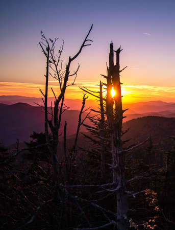 great smokies: Smoky Mountain Sunset In Vertical Orientation. Sunset from Clingmans Dome overlook of the Great Smoky Mountains National Park. The Smokies are Americas most visited national park surpassing even Yellowstone and Yosemite Stock Photo