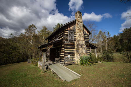 Historical Log Cabin In The Appalachian Mountains Of Kentucky. Historic log cabin on display at the Gladie Visitors Center in the Daniel Boone National Forest. This is a public owned building on public parklands on display and not a privately owned proper