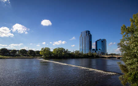 Grand Rapids, Michigan, USA - September 17, 2016: The Riverhouse Condos building is the tallest building in Grand Rapids and is the tallest residential building in the state of Michigan