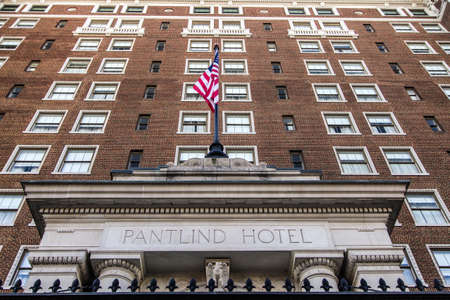 Grand Rapids, Michigan, USA -  September 17, 2016: The historical Amway Grand Plaza Hotel is a luxury four star hotel owned by the Hilton Hotel chain and is located in downtown Grand Rapids, Michigan. Editorial