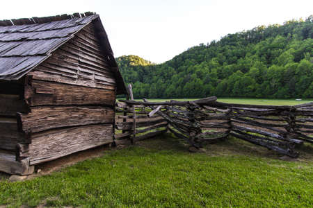 Pioneer Log Cabin Homestead. Historic pioneer cabin at the Ocanulaftee Visitors Center in the Great Smoky Mountains National Park. This is a public building in a national park and not a privately owned residence.