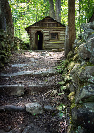 Tiny Log House. Small historical log cabin in the Great Smoky Mountains National Park. This is a historical structure on public lands in a national park and not a private property.